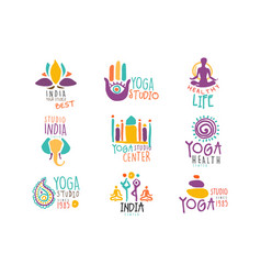Yoga center set of colorful promo sign design vector