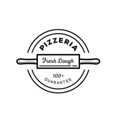 fresh dough pizza guarantee logo vector image