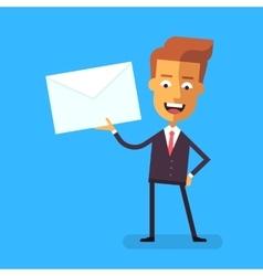 Handsome businessman in formal suit holding letter vector image