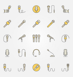 microphone colorful icons set - creative vector image vector image