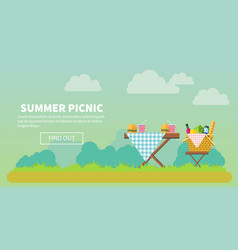 outdoor picnic in park banner vector image