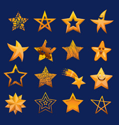 set of shiny star icons in different style vector image