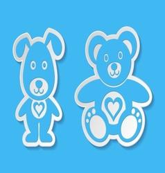 Teddy bear and dog vector image