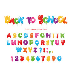 back to school balloon colorful font for kids vector image vector image