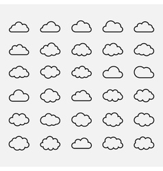 Big set black cloud shapes icons vector image vector image