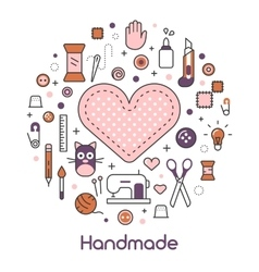 Hand Made Sewing Crafting Line Art Thin Icons Set vector image