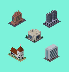 Isometric urban set of tower chapel office and vector