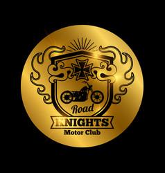 motorbike club golden emblem with vector image vector image