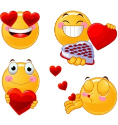 set of valentines smileys emoticons vector image vector image