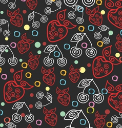 Berry Endless Seamless Dark Pattern vector image vector image