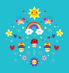 butterflies rainbow flowers mushrooms hearts vector image