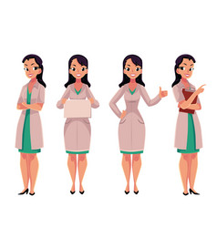 female woman doctor in white medical coat holding vector image vector image