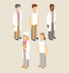 medical workers set of men and women vector image vector image