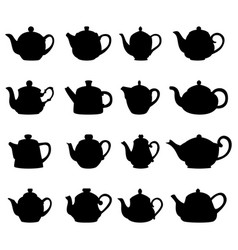 set of teapot silhouettes vector image vector image
