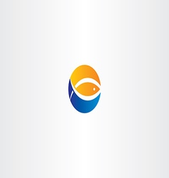 Water wave fish and sun logo icon vector