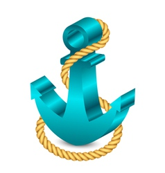 3d anchor with rope vector image vector image