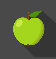 green apple cartoon flat icon dark background vector image