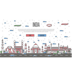 indian skyline with national famous landmarks vector image