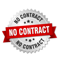 no contract round isolated silver badge vector image