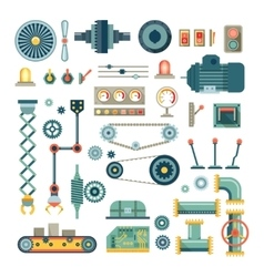 Parts of machinery and robot flat icons set vector image vector image