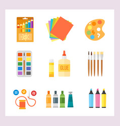 themed kids creativity creation symbols poster in vector image