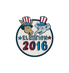 US Election 2016 Mascot Donkey Elephant Circle vector image