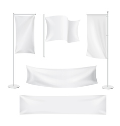 White flags and textile banners folds vector image