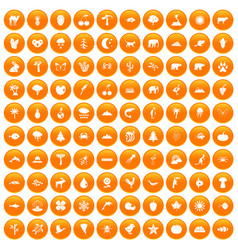 100 nature icons set orange vector