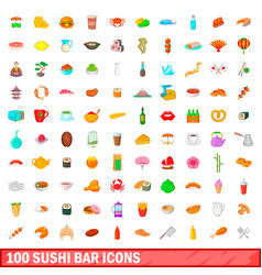 100 sushi bar icons set cartoon style vector