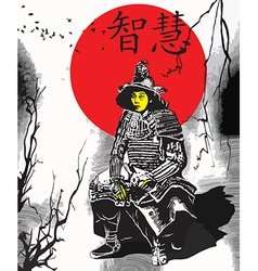 An hand drawn from Japan Culture - Samurai Shogun vector image