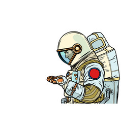 astronaut with an empty palm vector image