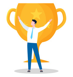 Award for businessman trophy for male victory vector