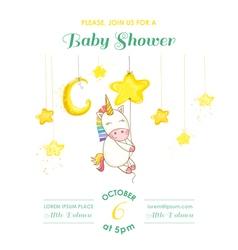 Baby shower or arrival card - unicorn girl vector