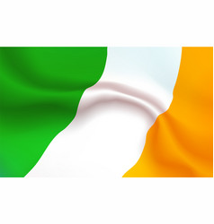 background irish flag in folds tricolour banner vector image