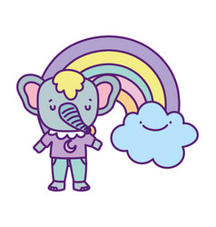 bashower cute elephant rainbow with clouds vector image