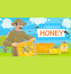 Beekeeper offers natural honey vector