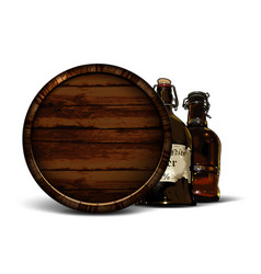 beer background with oak barrel and two vintage vector image