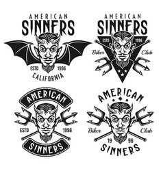 Biker club emblems with horned devil head vector