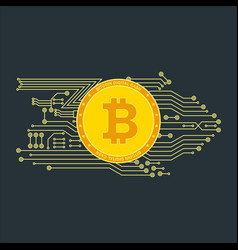 Bitcon poster gold vector