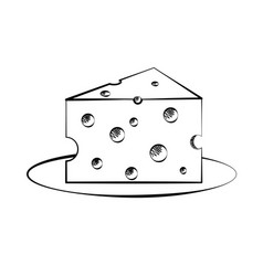 black and white drawing of a piece of cheese vector image