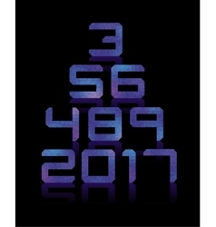 Blue number set with transparent reflections vector image