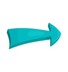 Blue right arrow icon in cartoon style vector