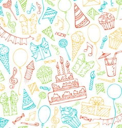 Bright seamless birthday pattern vector