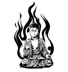 buddha line drawing sketch a sitting vector image