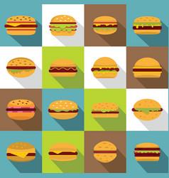 Burger icons set flat style vector