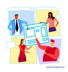businesspeople developers building computer vector image