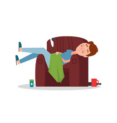 Careless boy sleeping in armchair scattered things vector