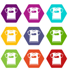 child t shirt icons set 9 vector image