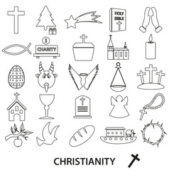 christianity religion symbols set of outline icons vector image