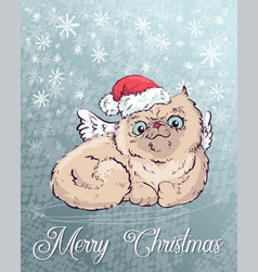Christmas poster with cat portrait in red santa s vector